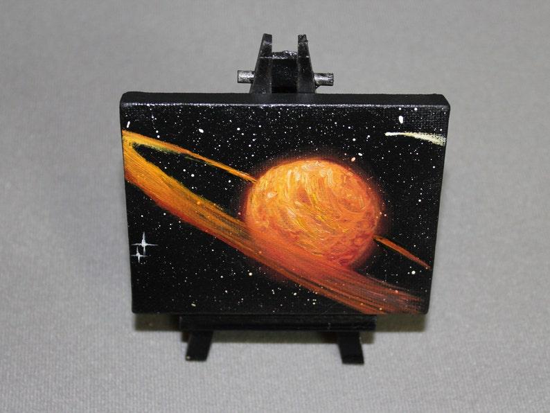 Original Mini Painting  3x4 Deep Space Orange Saturn image 0