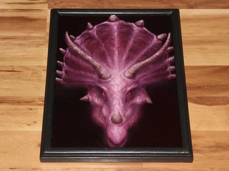12x16 Original Oil Painting  Dinosaur Triceratops Framed