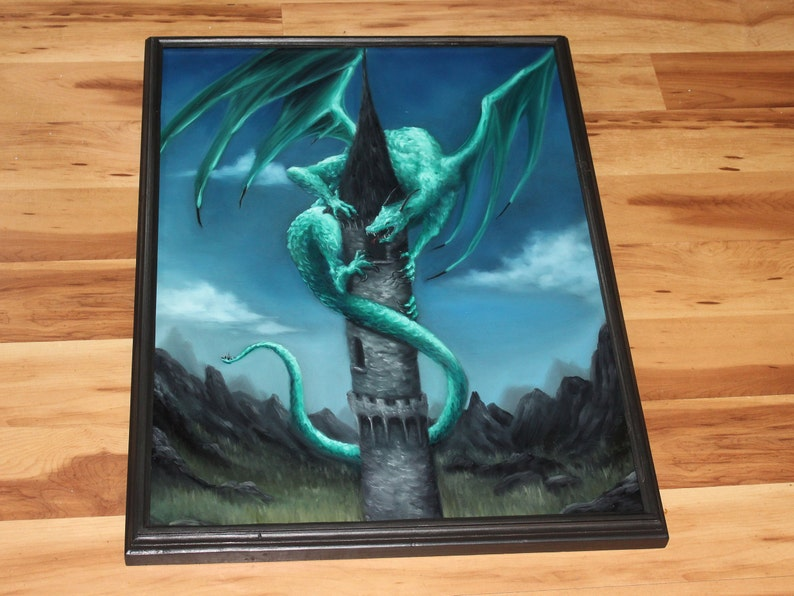 18x24 Original Oil Painting  Green Emerald Dragon on image 0
