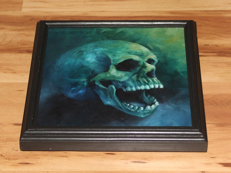 10x10 Original Oil Painting  Laughing Human Skull Framed