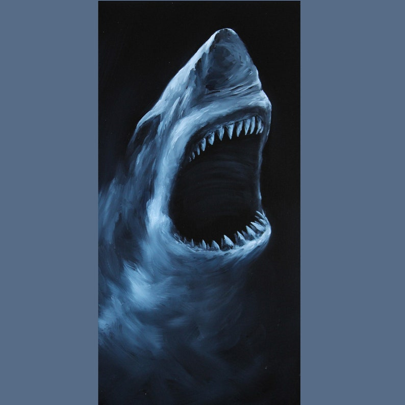 10x20 Original Oil Painting  Hungry Shark Jaws  image 0