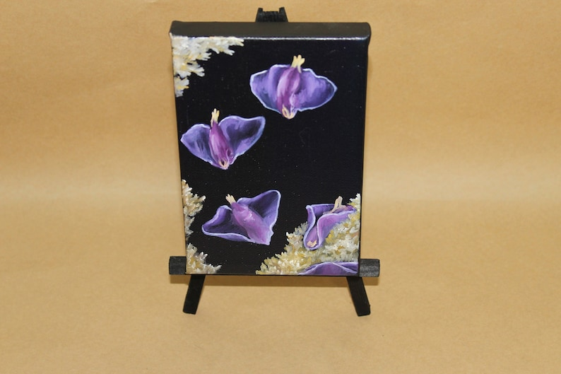 4x6 Original Mini Oil Painting  Pink & Purple Sea Slugs image 0