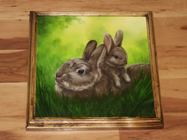 12x12 Original Oil Painting  Easter Bunnies Mom and Framed