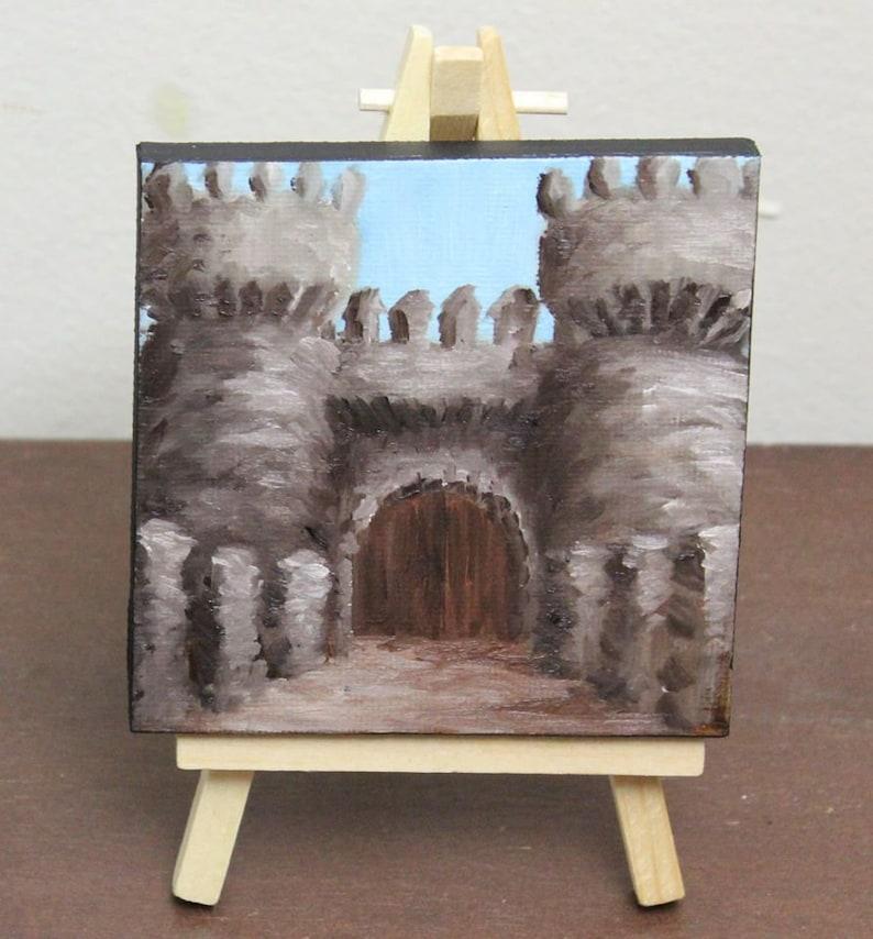 Original Mini Painting  4x4 Medieval Castle Entrance image 0