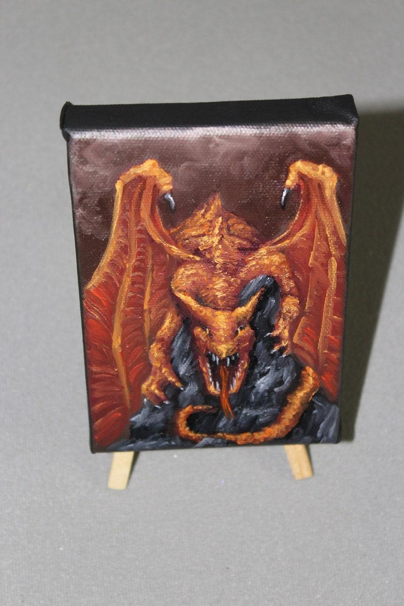 4x6 Original Mini Oil Painting  Red Orange Brown image 0
