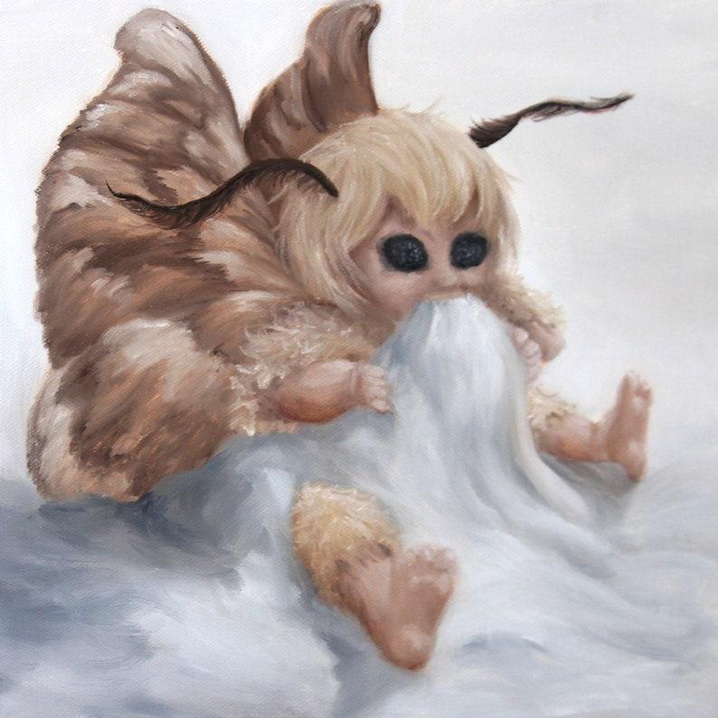 10x10 Original Oil Painting  Baby Moth Fairy Faerie Fae image 0