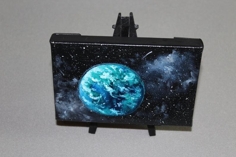 4x6 Original Mini Oil Painting  Blue Green Earth-like image 0