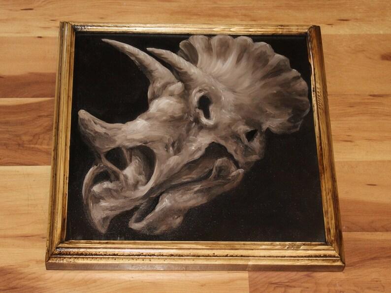 12x12 Original Oil Painting  Dinosaur Skull Painting  Framed