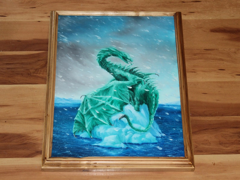 12x16 Original Oil Painting  Coolbreeze Snowy Emerald Framed
