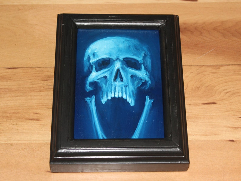 4x6 Original Oil Painting  Human Skull Painting   Neon Framed Painting