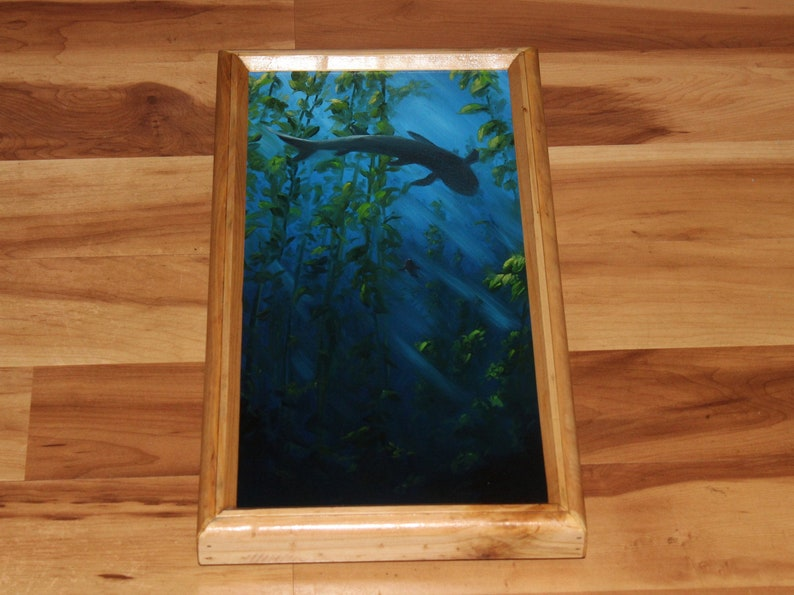 8x16 Original Oil Painting  Blue Gray Sharks Seaweed image 1