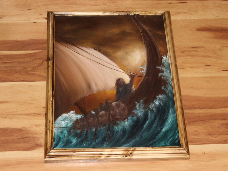 12x16 Original Oil Painting  Viking Longboat Dwarves Framed