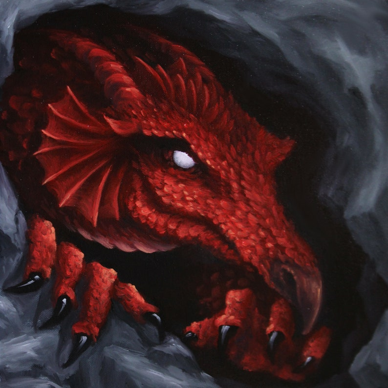 12x12 Original Oil Painting  Red Dragon Cave Spooky image 0