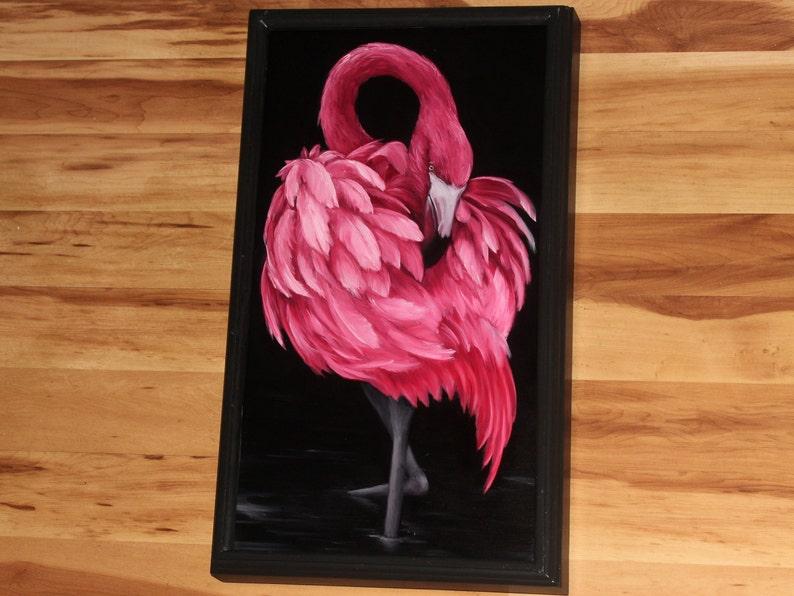 12x24 Original Oil Painting  Pink Flamingo   Birds Framed