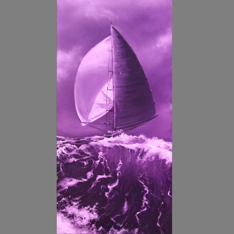 10x20 Original Oil Painting  Purple Violet Sailing Ship image 0