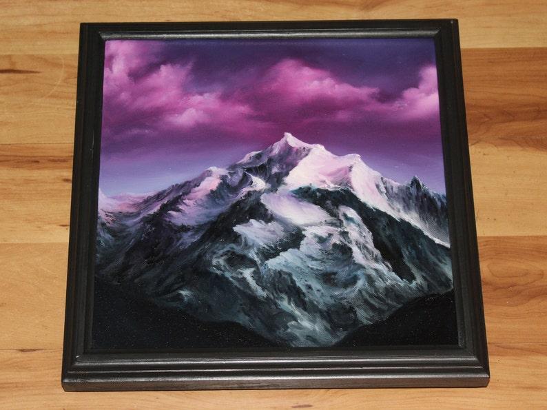 12x12 Original Oil Painting  Pinnacle Pink Purple Framed