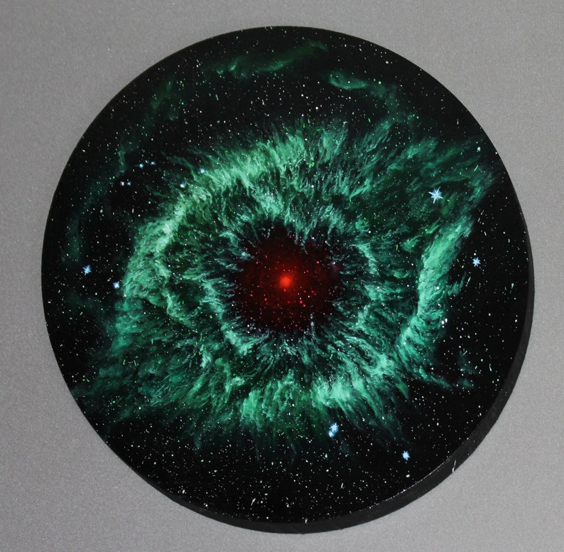 16 Round Original Oil Painting  Helix Nebula Green Red image 0