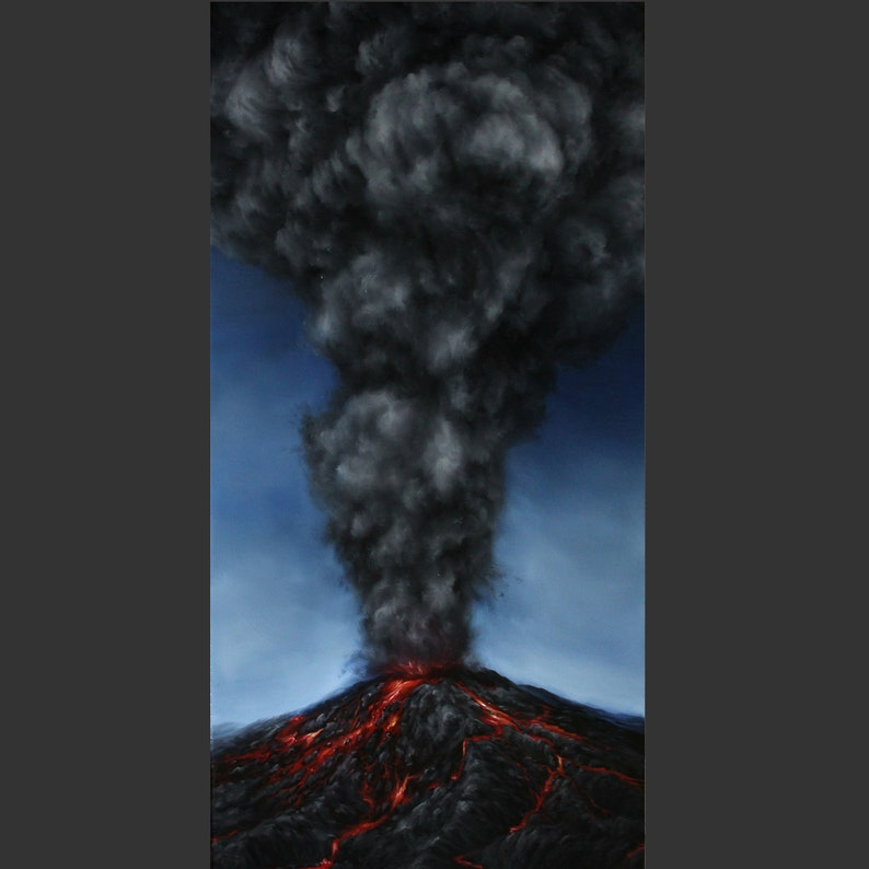 12x24 Original Oil Painting  Mountain Volcano Eruption image 0