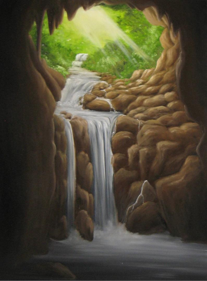 18x24 Original Oil Painting  Hidden Cave Enchanted image 0