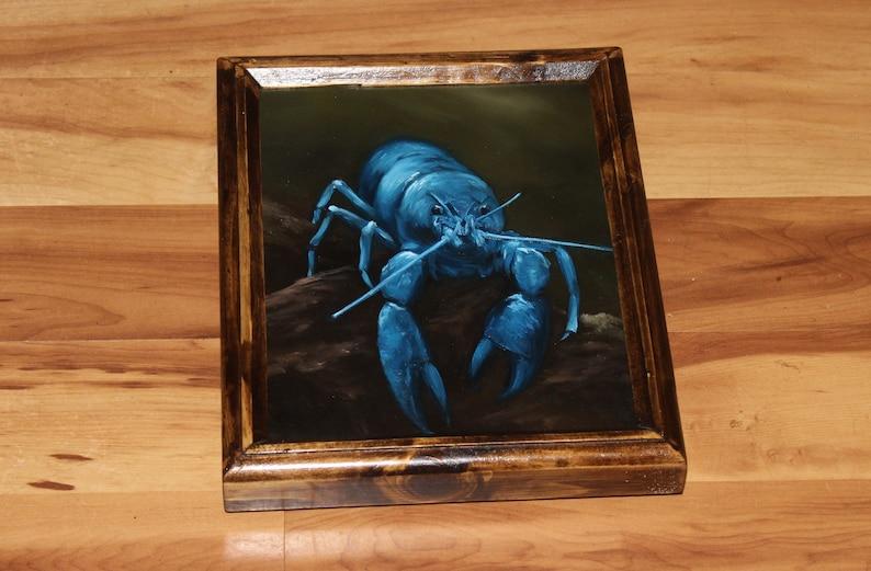 8x10 Original Oil Painting  Blue Lobster Rocky Beach Framed