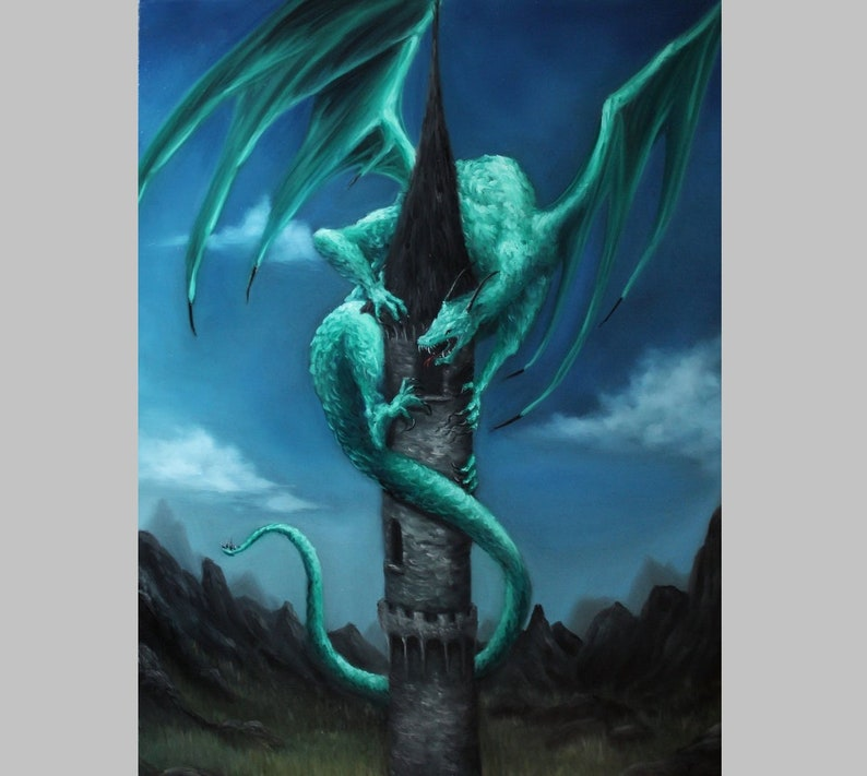 18x24 Original Oil Painting  Green Emerald Dragon on image 0