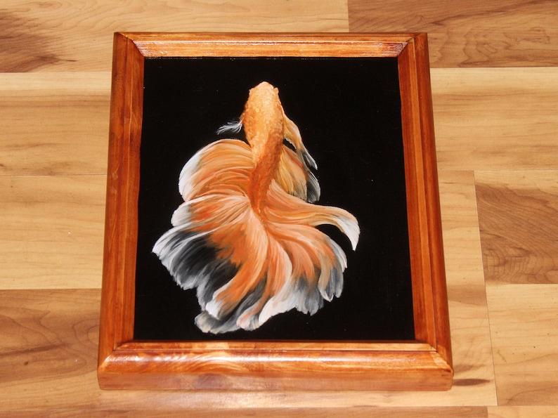 8x10 Original Oil Painting  Orange White Beta Fish  image 1