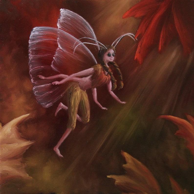 10x10 Original Oil Painting  Autumn Fairy Faerie Fae image 0