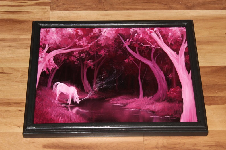 12x16 Original Oil Painting  Pink White Unicorn Magical Framed