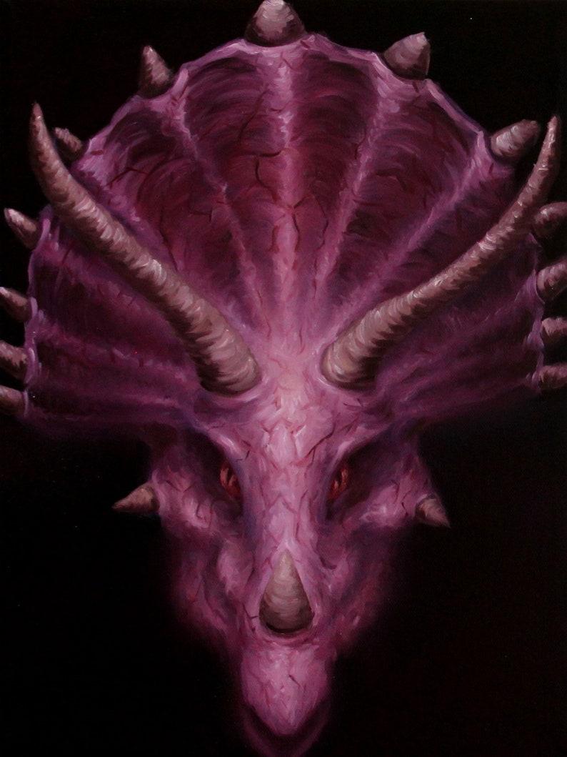 12x16 Original Oil Painting  Dinosaur Triceratops image 0