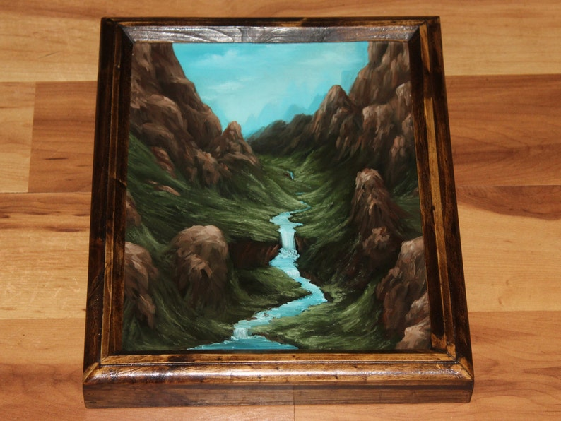 8x10 Original Oil Painting  Waterfall Blue Green Framed