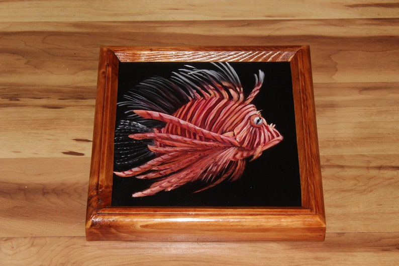 8x8 Original Mini Oil Painting  Orange White Striped image 1
