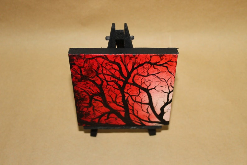 Original Mini Painting  4x4 Red Tree Branches Forest image 0