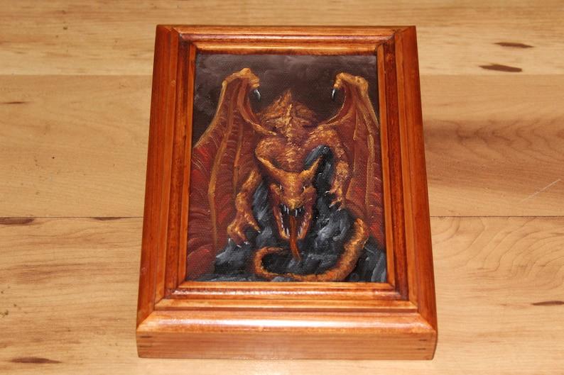 4x6 Original Mini Oil Painting  Red Orange Brown Framed Painting
