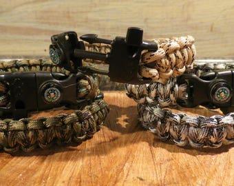 Paracord Survival Bracelet w/ five attachments- size 9 inch