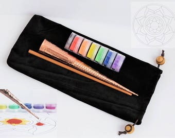 DIY craft project Sand Mandala. ChakPur Sand Painting Art Kit. Rangoli Tool. Powder Enamel Glass Frit applicator.
