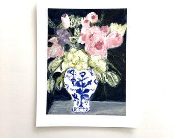 Floral Bouquet art, orginal acrylic painting on paper, 11x14, unframed art, gift for her, gift for gardener, flower art, bouquet