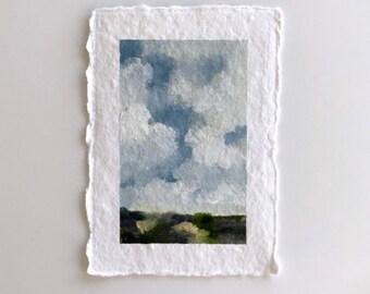 Original landscape oil painting, small painting, 4x6 art, clouds, cloud painting, art as gift, unframed art, affordable art, cloud art