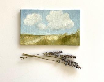 Landscape painting, original oil painting, mini landscape painting, beach painting, beach art,unframed art, desk art, art as gift, small art