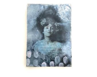 Nostalgic art, encaustic art, photoencaustic, portrait of a woman, 5X7 wall art, ready to hang art, art as gift, small art,shabby chic decor