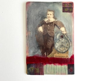 Cabinet card, altered cabinet card, mixed media art, collage, affordable original art, vintage photo art, small art, art as gift