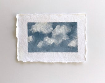 Cloud painting, clouds, original oil painting, unframed art, art as gift, small art, 4x6, small oil painting, affordable original art