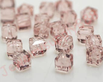 Hot Sale 4mm Glass Crystal Beads Loose Cube Square Shape Gold Champagne Ab Color For Jewelry Making Jewelry & Accessories