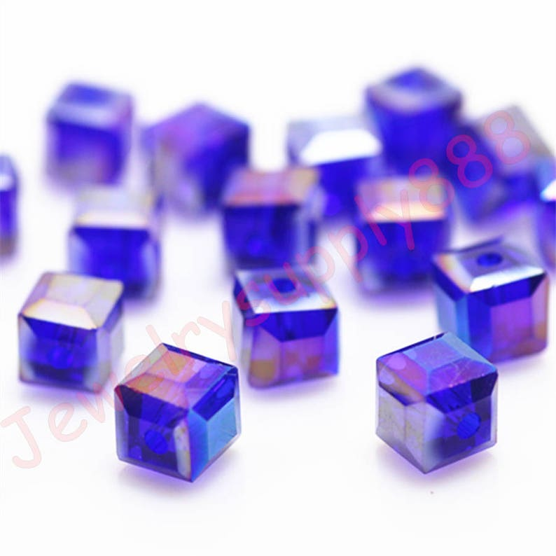 4X4MM HEMATITE GEMSTONE PURPLE SQUARE CUBE 4X4MM LOOSE BEADS 16/""