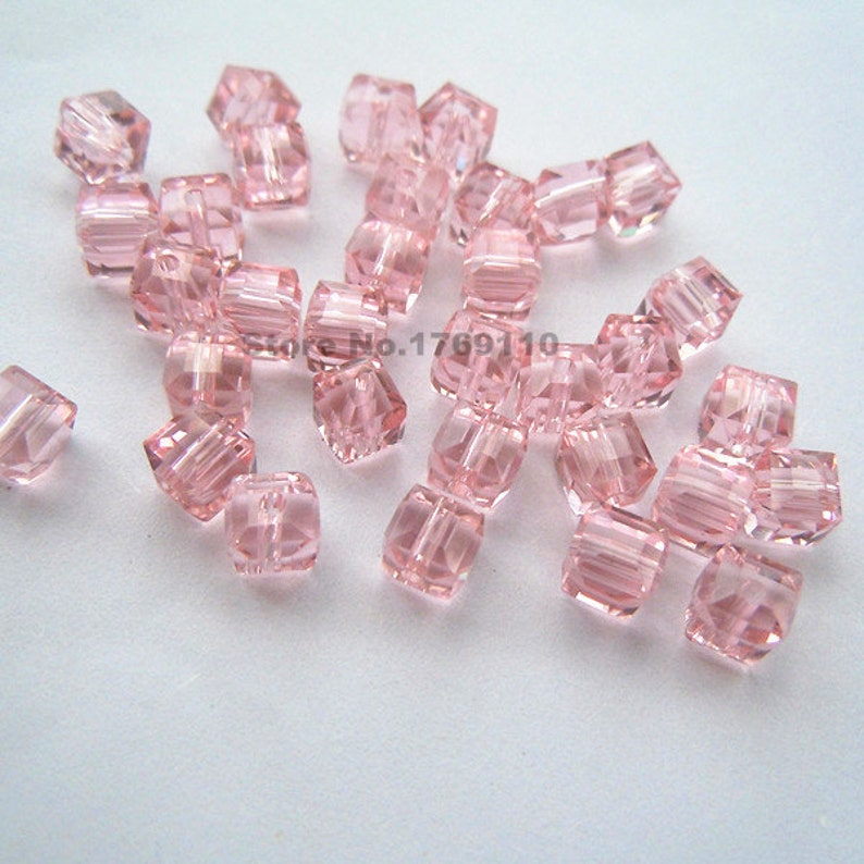 8b138bc3561ac 100pcs Pink Color 6mm Square Cube Crystal Beads,Loose Jewelry Spacer  Faceted Beads 19 Color U Pick