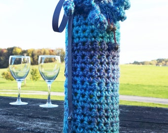 Wine Cozy Crochet Pattern - wine bottle sock with bead embellishments and decorative ribbon PDF and Free Spider mums crochet pattern