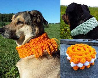 CROCHET PATTERN BUNDLE: Dog scarf crochet pattern 3 Pack saves money and Free Spider mums crochet pattern