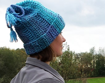 Convertible hat and cowl scarf tube with tassels crochet pattern PDF - FREE Spider mums crochet pattern included