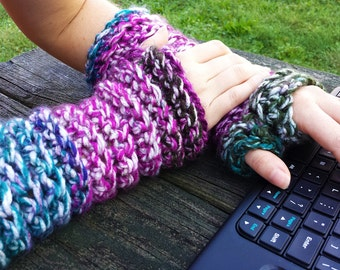 CROCHET PATTERN: Wrist warmers shown in shades of purple, pink, teal, forest green, dark brown and white PDF and Free Spider mums pattern