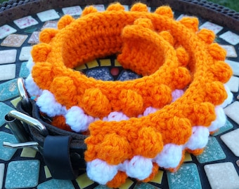 CROCHET PATTERN: Bubble dog scarf shown in orange and white PDF and Free Spider mums crochet pattern