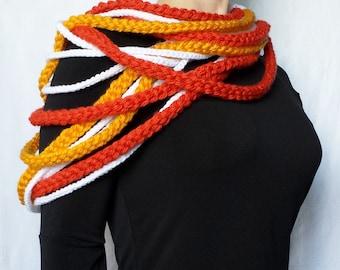 Rope Scarf Crochet Pattern, Infinity Crochet Scarf Pattern, Nautical Crochet Scarf - PDF and FREE Spider Mums Crochet Pattern included